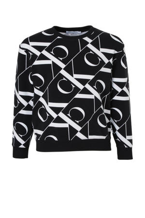 sweater met all over print zwart/wit