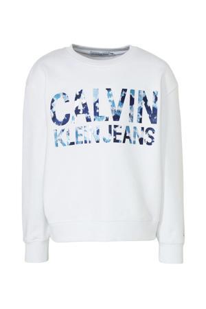oversized sweater met logo wit