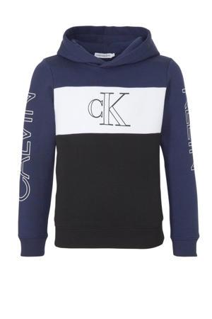 hoodie met logo donkerblauw/wit/zwart