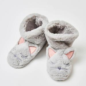 pantoffels van imitatiebont grijs