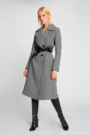 coat met wol en pied-de-poule zwart/ecru