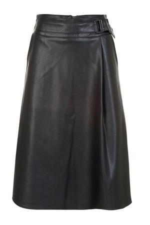 Regulier coated A-lijn rok met ceintuur zwart
