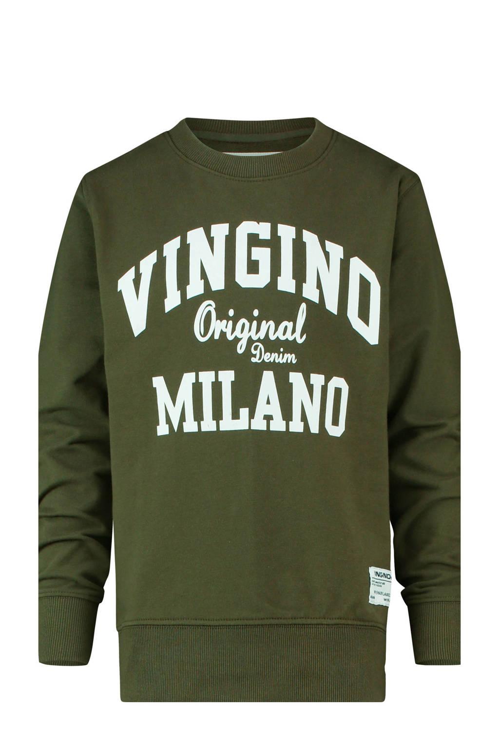 Vingino sweater Namry met logo olijfgroen, Olijfgroen
