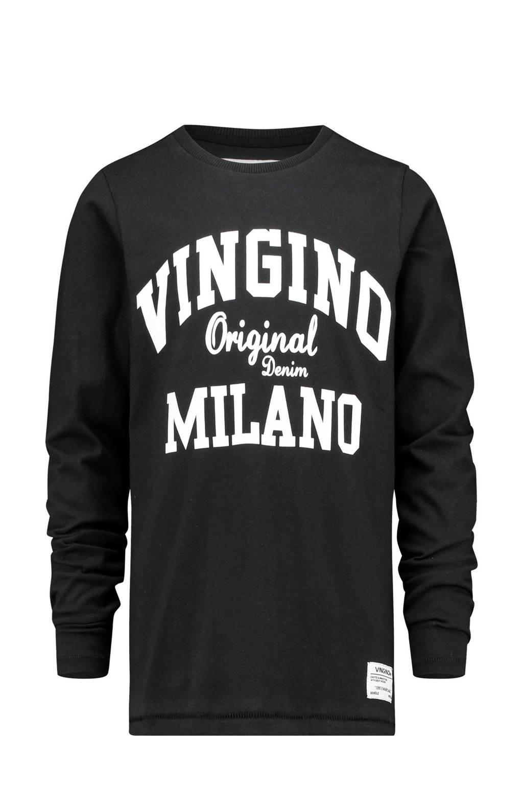 Vingino longsleeve Jerny met logo zwart, Zwart