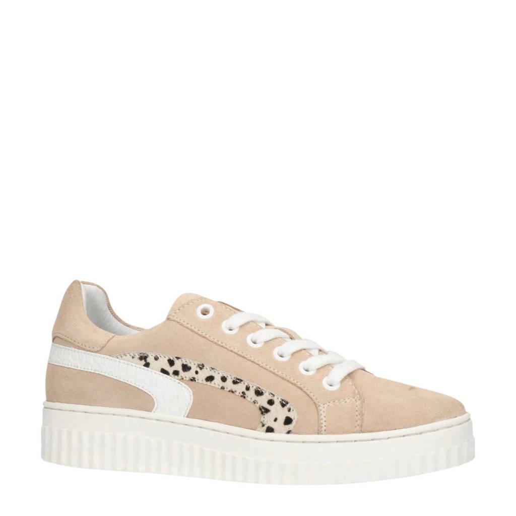 Manfield   suède sneakers beige/cheetahprint, Beige/wit
