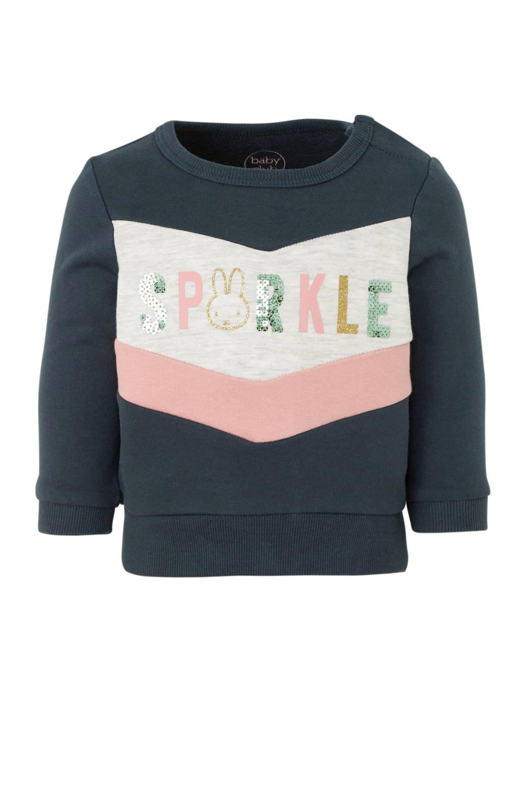 C&A glittersweater met tekst en pailletten antraciet/lichtgrijs/lichtroze, Antraciet/lichtgrijs/lichtroze