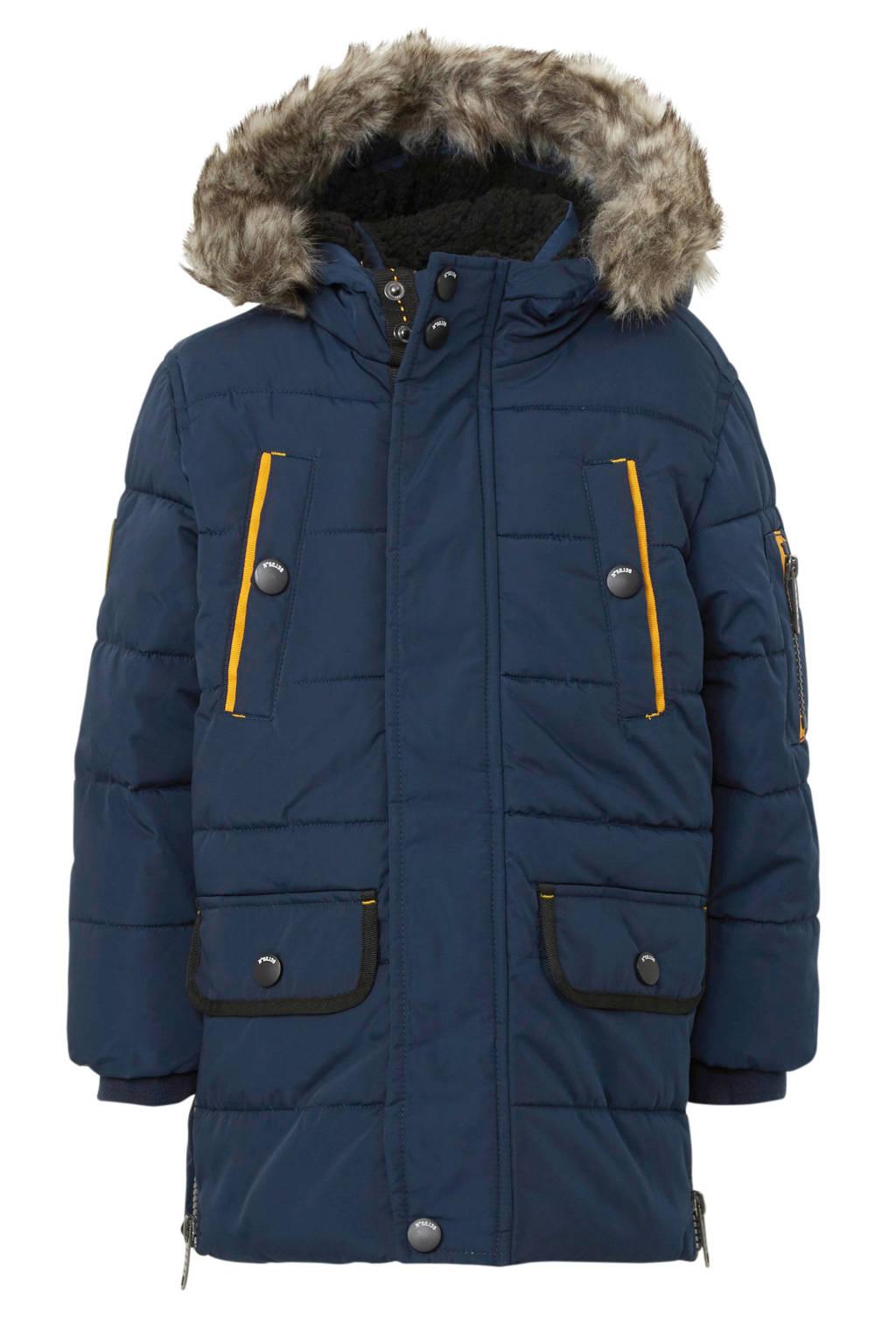 C&A Palomino winterjas met patches donkerblauw/geel, Donkerblauw/geel