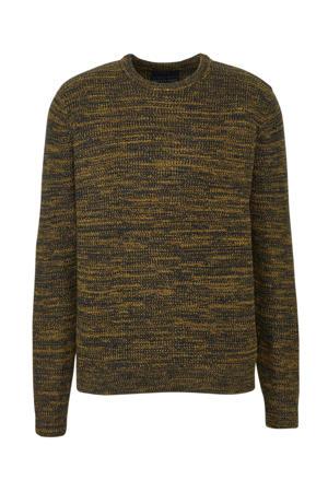 grofgebreide trui zwart/geel