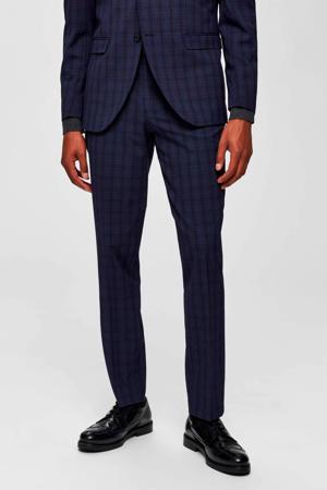 geruite slim fit pantalon navy blue