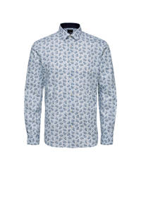 Selected Homme +Fit regular fit overhemd met all over print wit/blauw, Wit/blauw