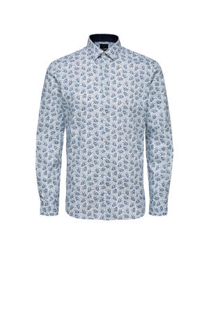 regular fit overhemd met all over print wit/blauw