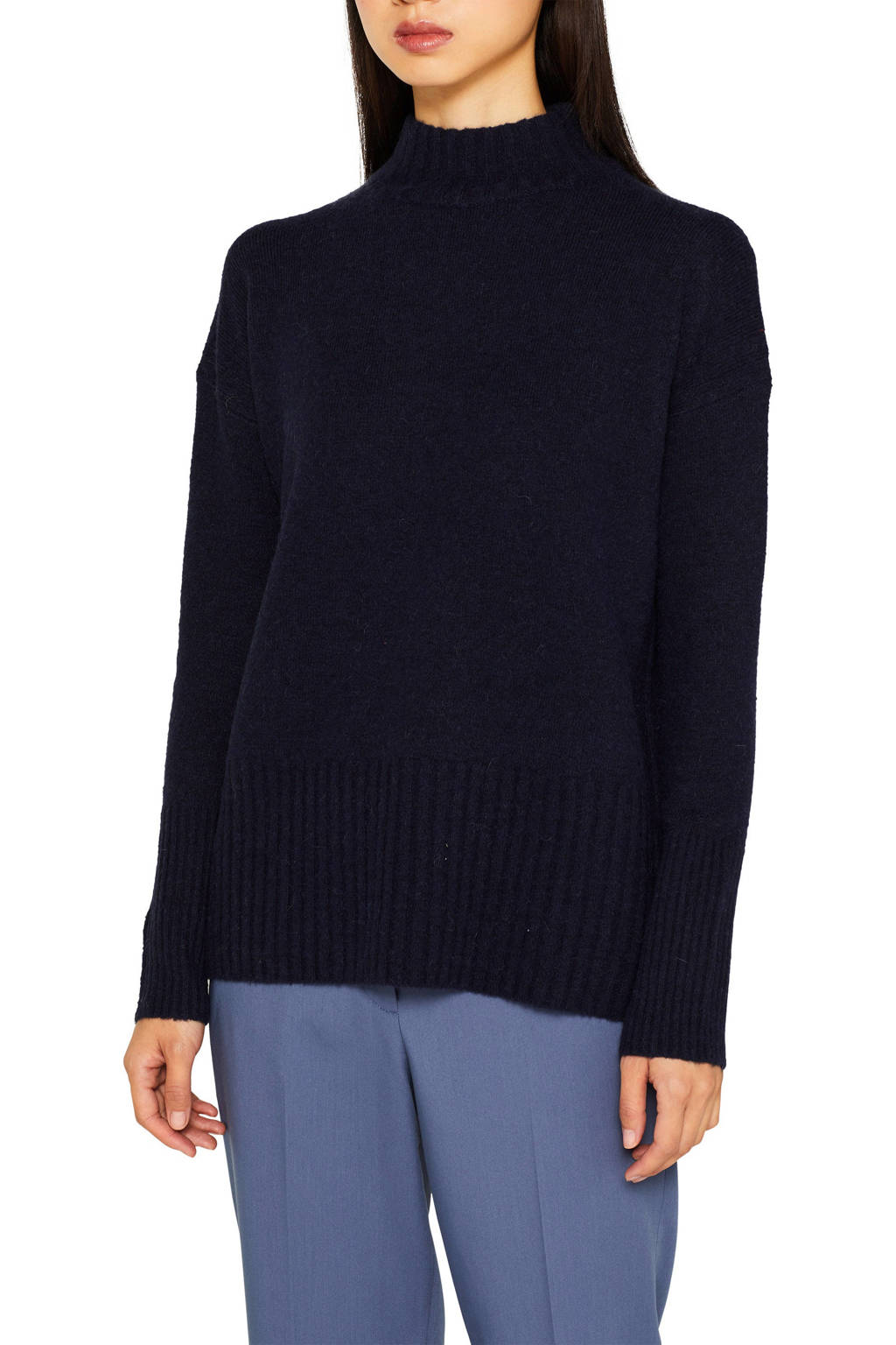 ESPRIT Women Casual trui met wol donkerblauw, Donkerblauw