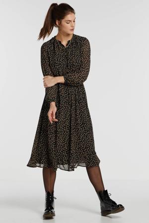 blousejurk met all over print en ceintuur zwart/beige