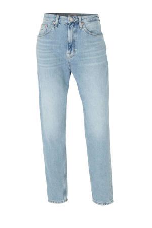 high waist mom jeans met logo blauw