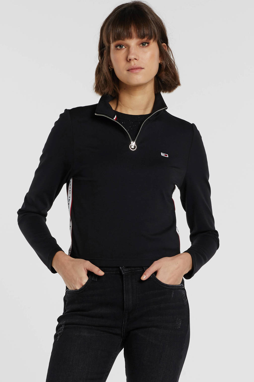 Tommy Jeans top zwart, Zwart