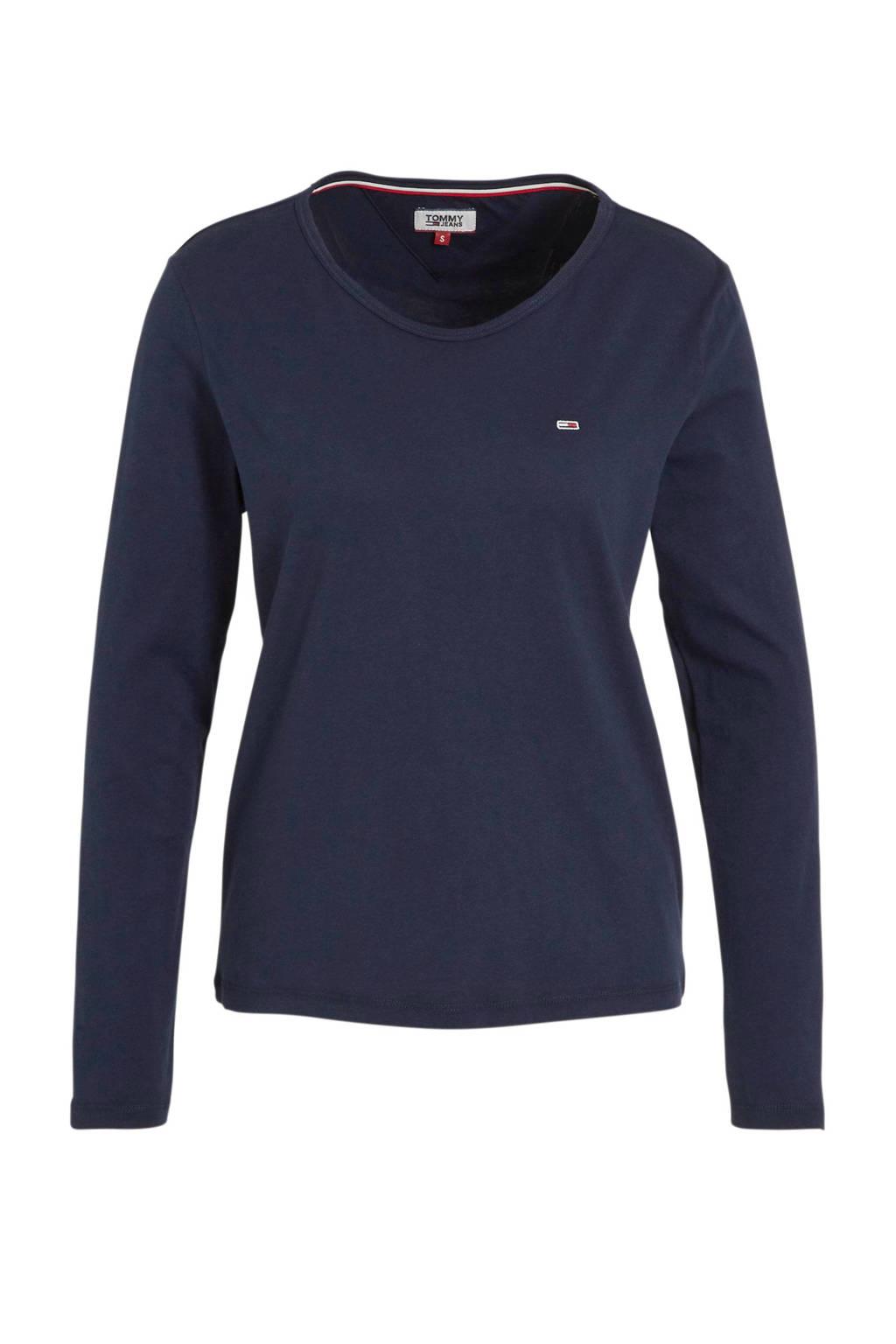 Tommy Jeans longsleeve met logo donkerblauw, Donkerblauw