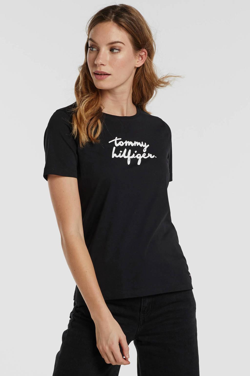 Tommy Hilfiger T-shirt met printopdruk zwart, Zwart