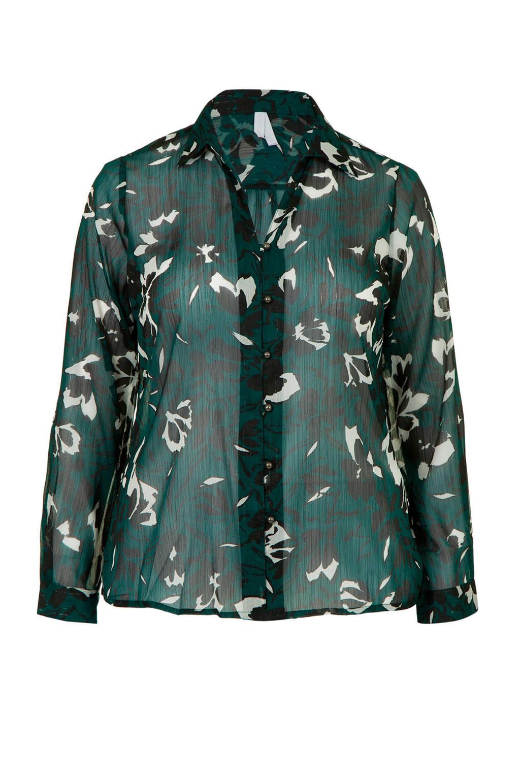 Miss Etam Plus gebloemde blouse groen, Groen