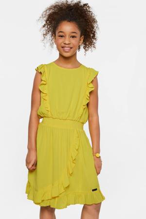 jersey jurk met volant geel