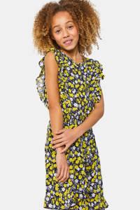 WE Fashion gebloemde jurk geel/zwart/wit, Geel/zwart/wit