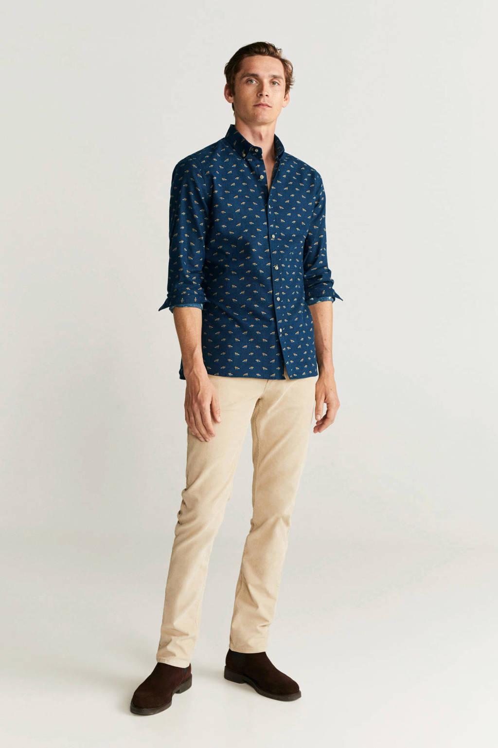 Mango Man geruit regular fit overhemd marineblauw, Marineblauw