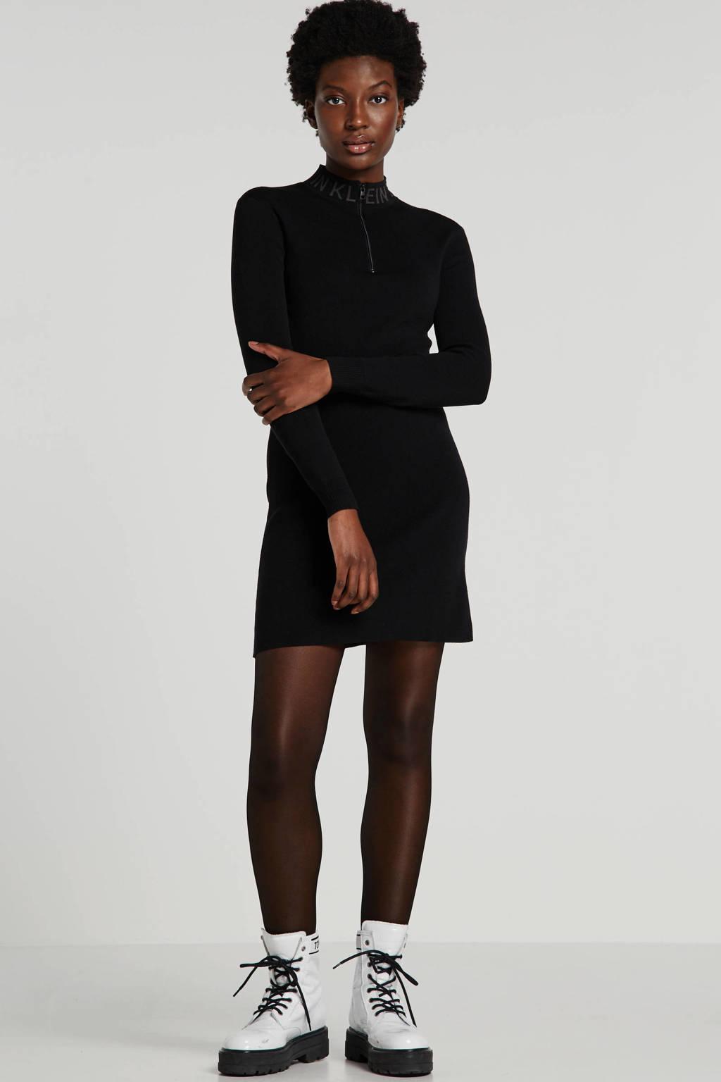 CALVIN KLEIN JEANS jurk met logo zwart, Zwart