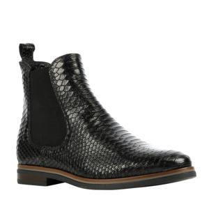 Siena  leren chelsea boots crocoprint zwart