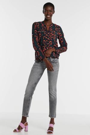 blouse met slangenprint blauw/rood