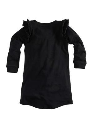 jurk Kiana met tekst en ruches zwart