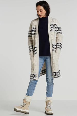Women Casual grofgebreid vest met wol beige