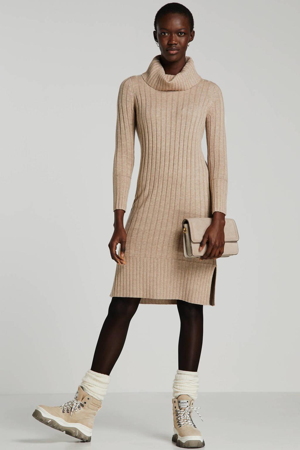 ESPRIT Women Casual ribgebreide jurk beige, Beige
