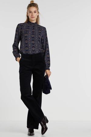 corduroy high waist loose fit broek donkerblauw