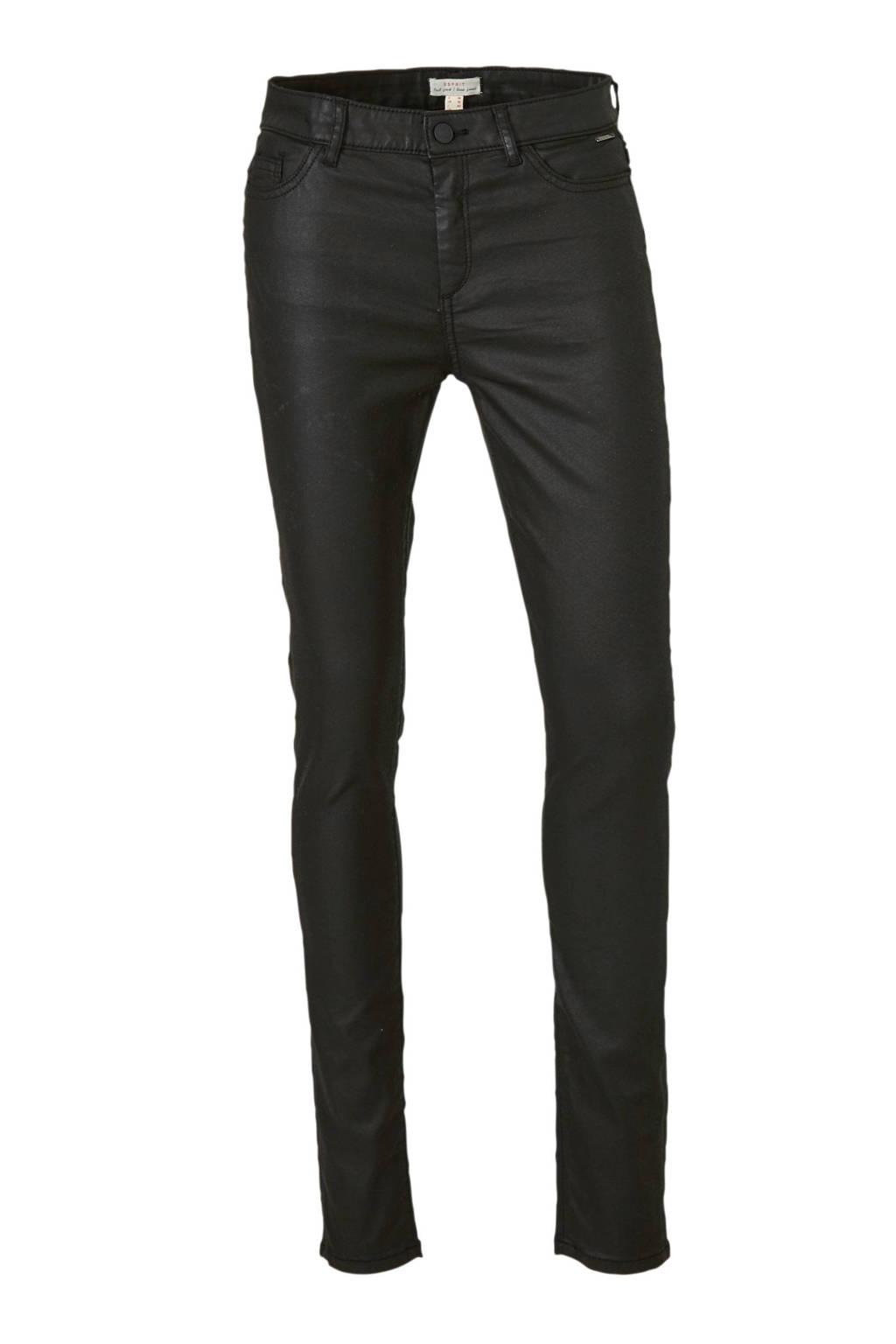 ESPRIT Women Casual coated skinny broek zwart, Zwart