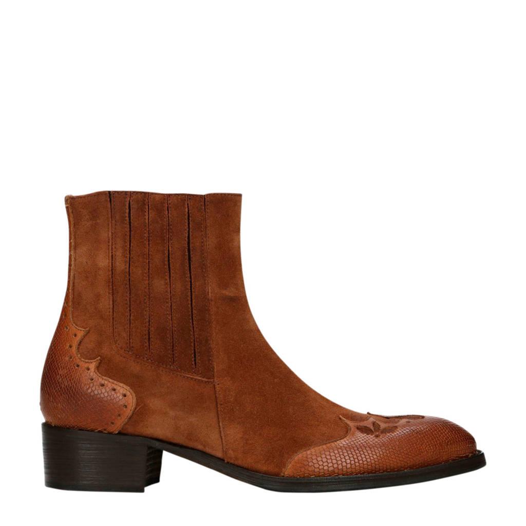 Sacha   suède chelsea boots cognac, Cognac