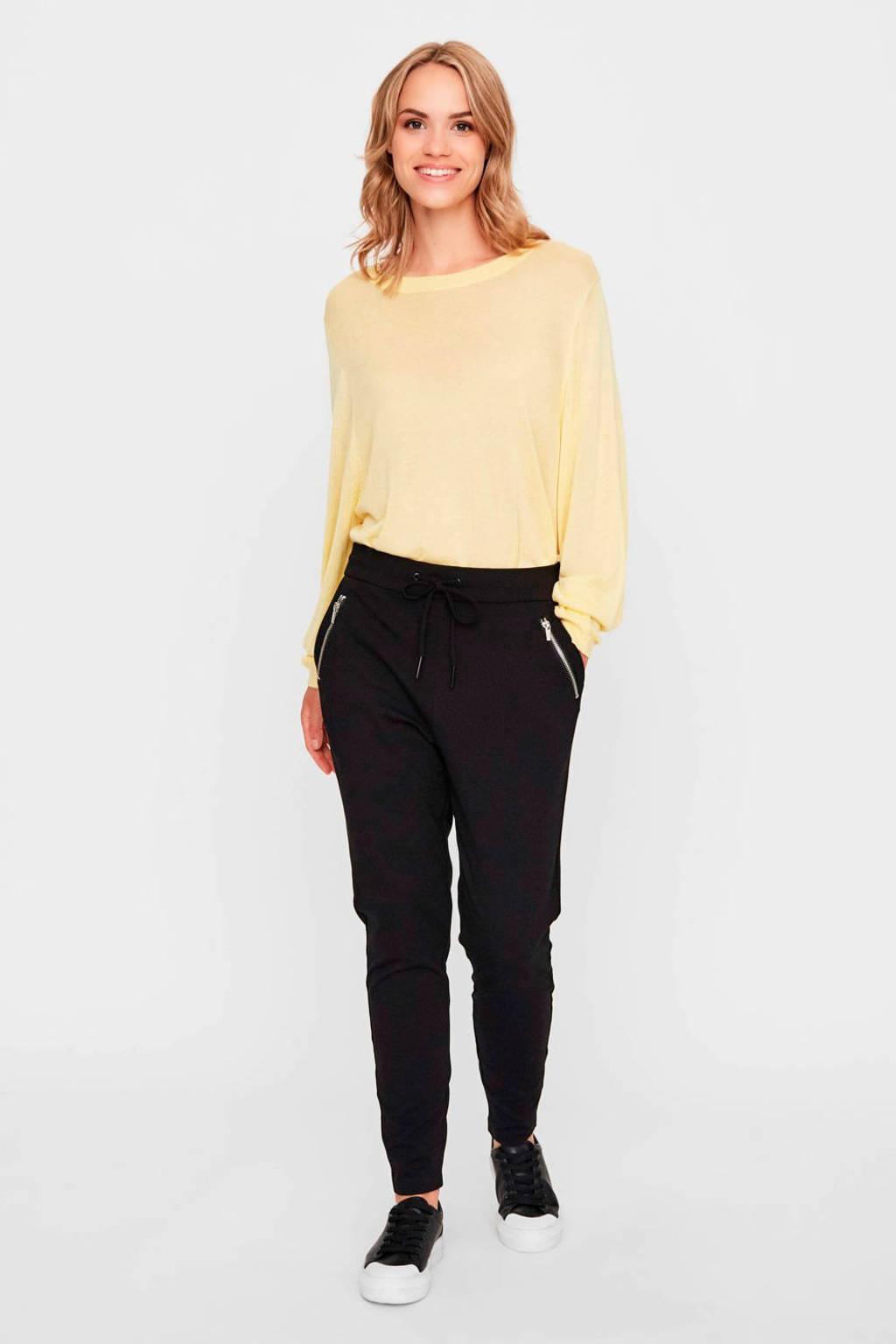 VERO MODA high waist slim fit broek zwart, Zwart