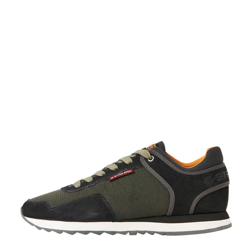 G-Star RAW Calow  suède sneakers zwart/groen, Zwart/groen