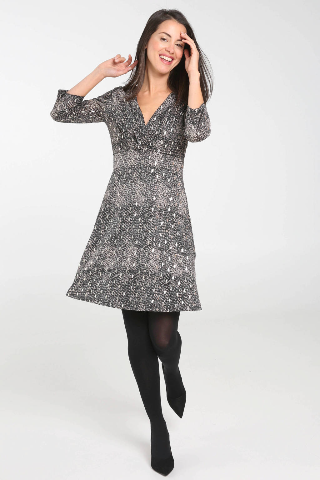 Cassis jersey jurk met all over print grijs, Grijs