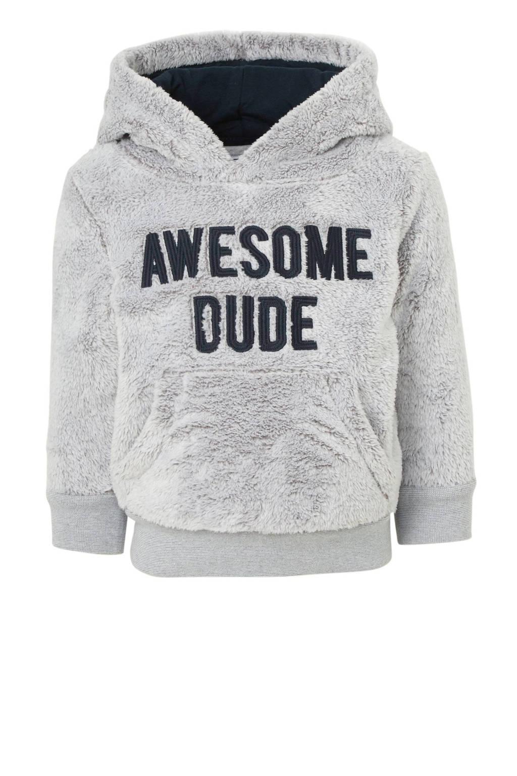 C&A Palomino hoodie met tekst en borduursels grijs, Grijs