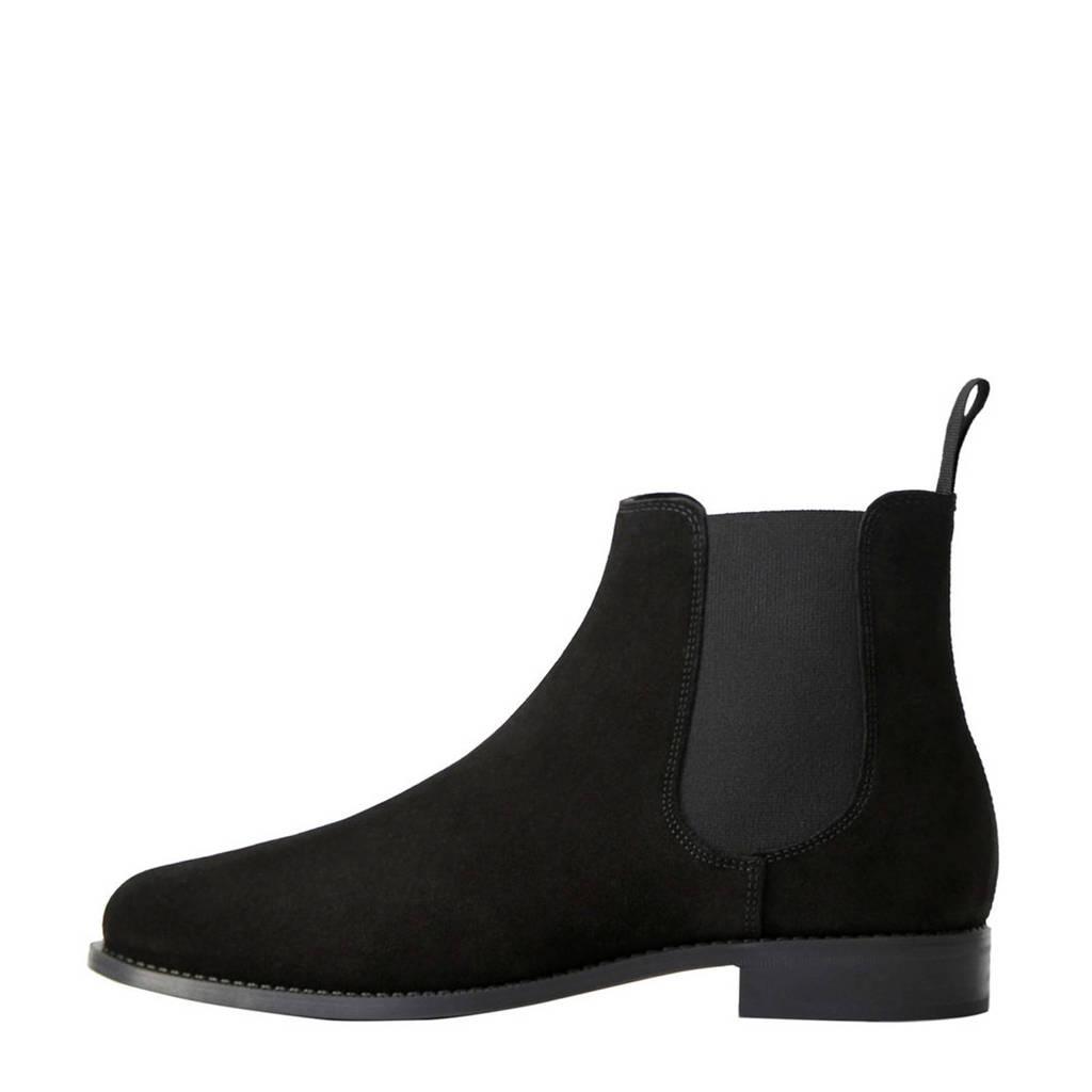 Mango Man   suède chelsea boots zwart, Zwart