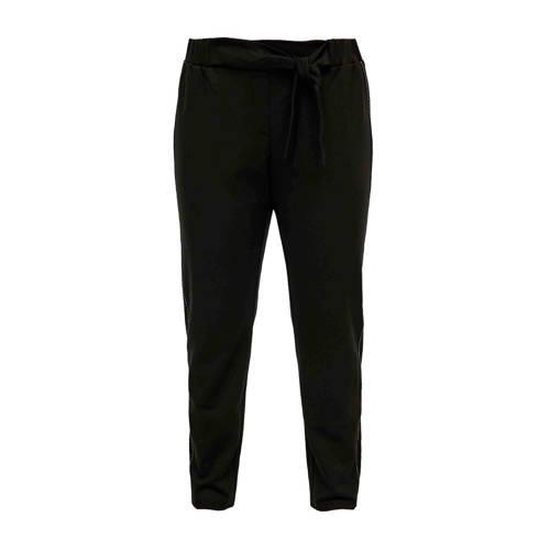 TRIANGLE slim fit broek met sierstiksel zwart