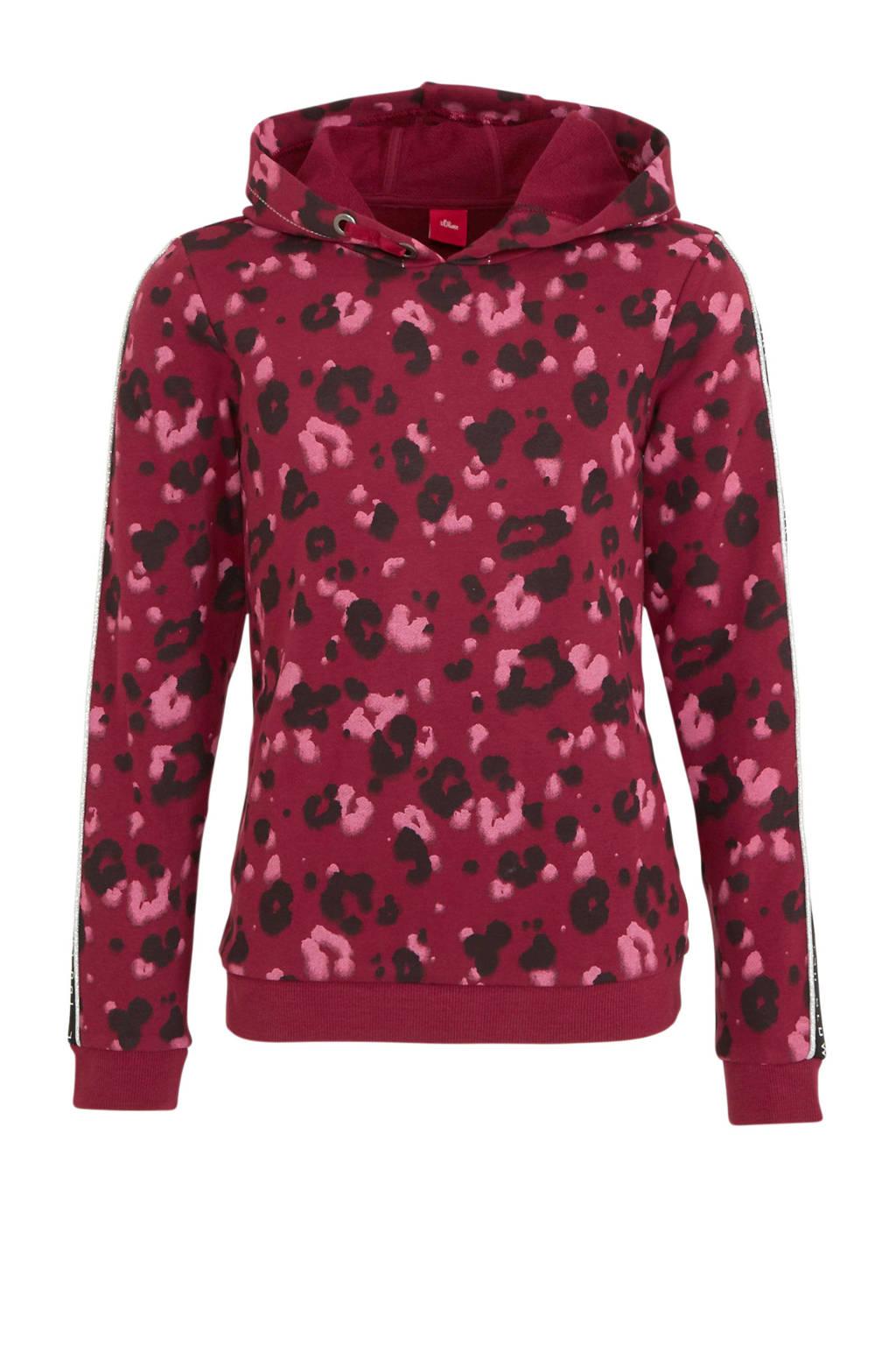 s.Oliver hoodie met panterprint en contrastbies donkerrood, Donkerrood