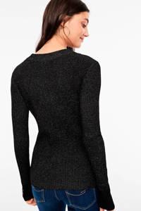 Q/S designed by top met all over print en glitters zwart, Zwart