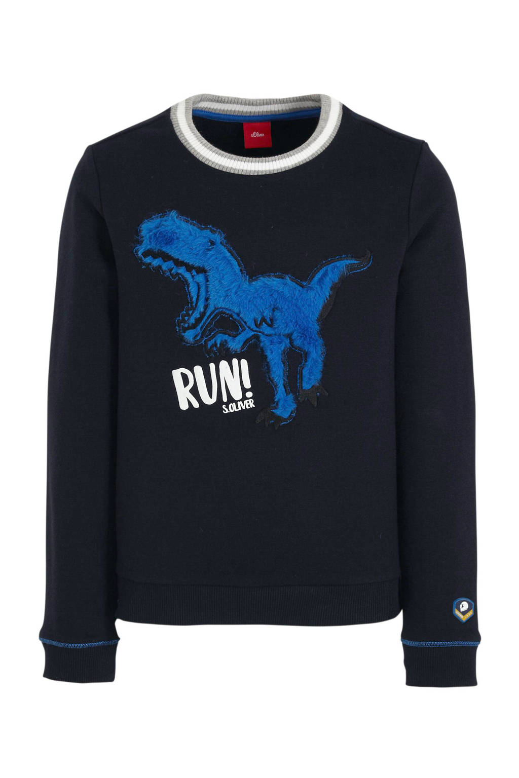 s.Oliver sweater met printopdruk en borduursels donkerblauw/blauw/wit, Donkerblauw/blauw/wit