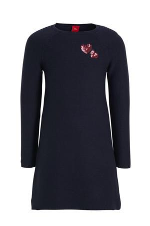 gebreide jurk met pailletten donkerblauw/rood