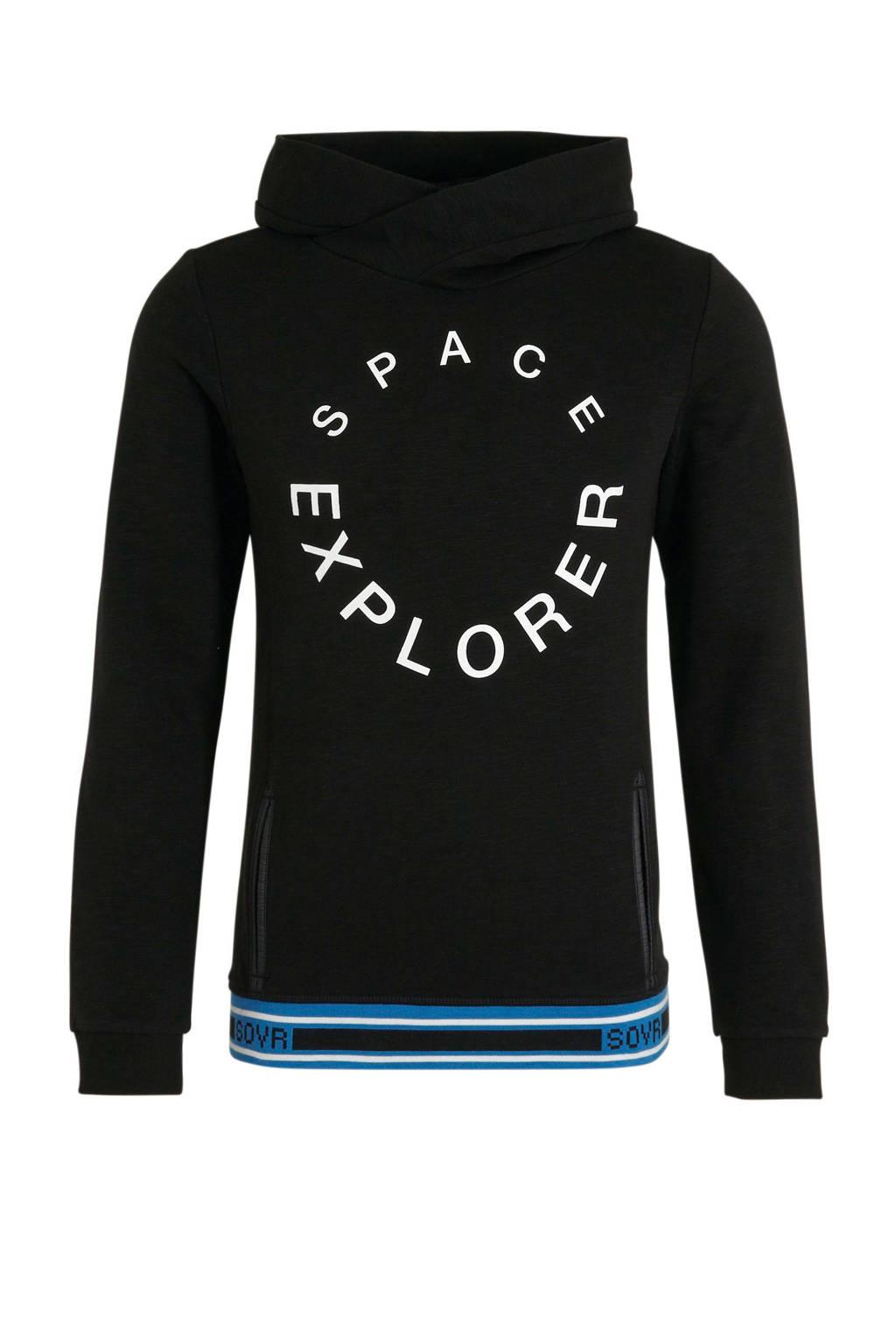s.Oliver sweater met tekst zwart/wit/blauw, Zwart/wit/blauw