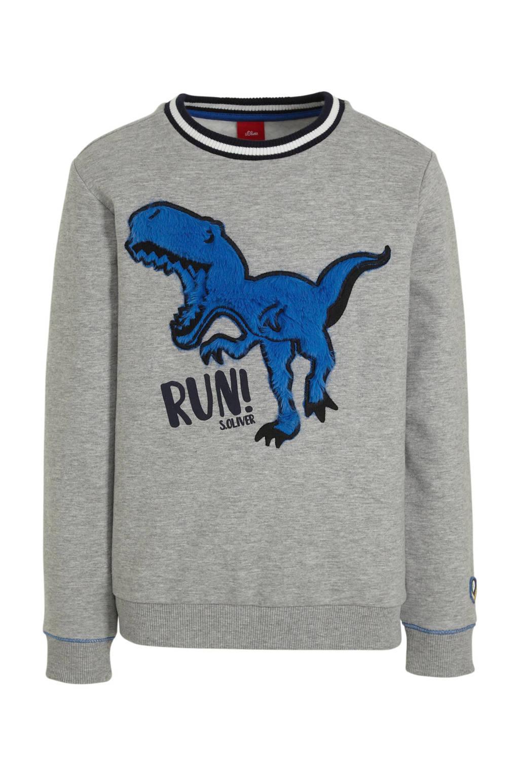 s.Oliver sweater met printopdruk en borduursels grijs, Grijs