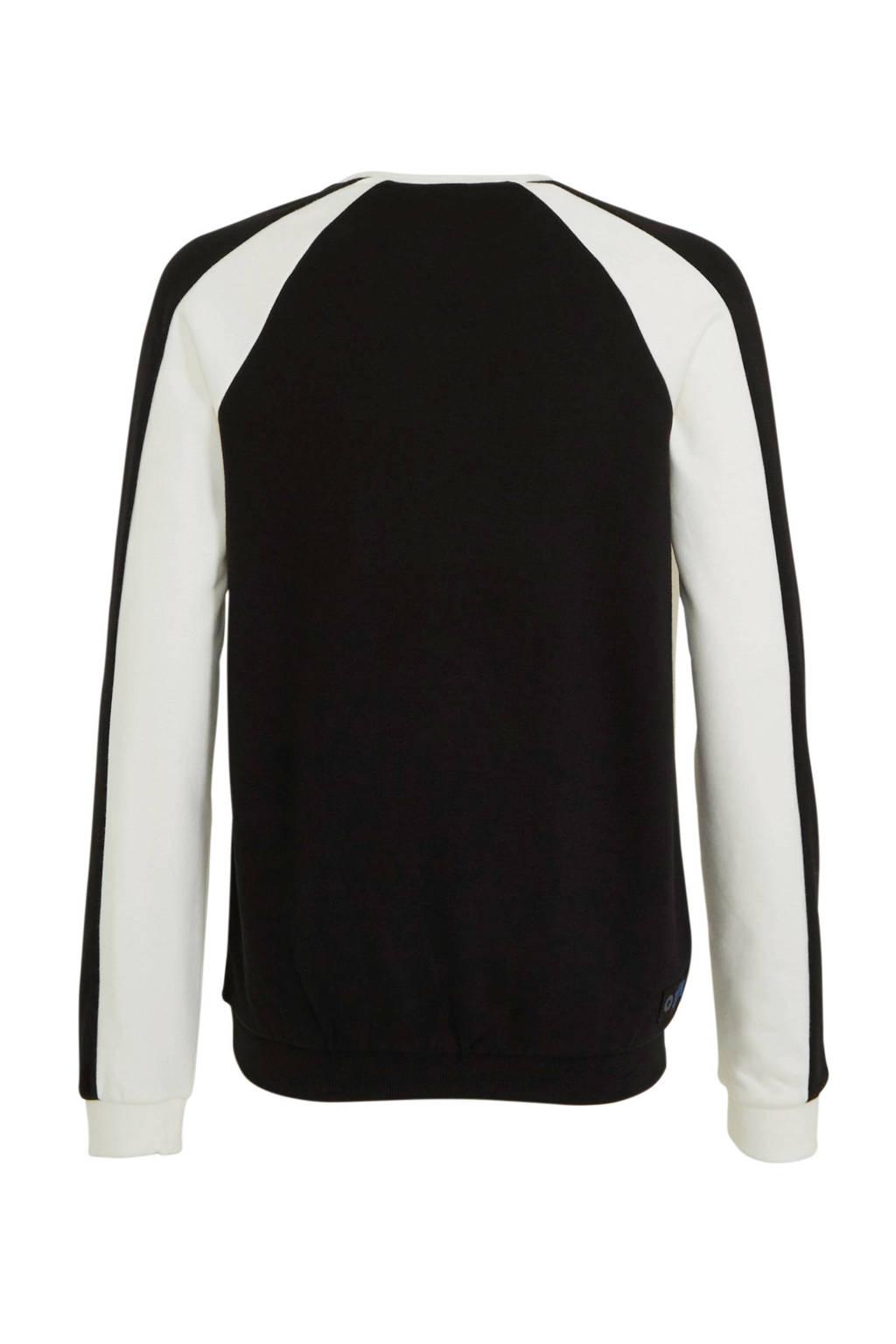 s.Oliver sweater met contrastbies ecru/zwart, Ecru/zwart