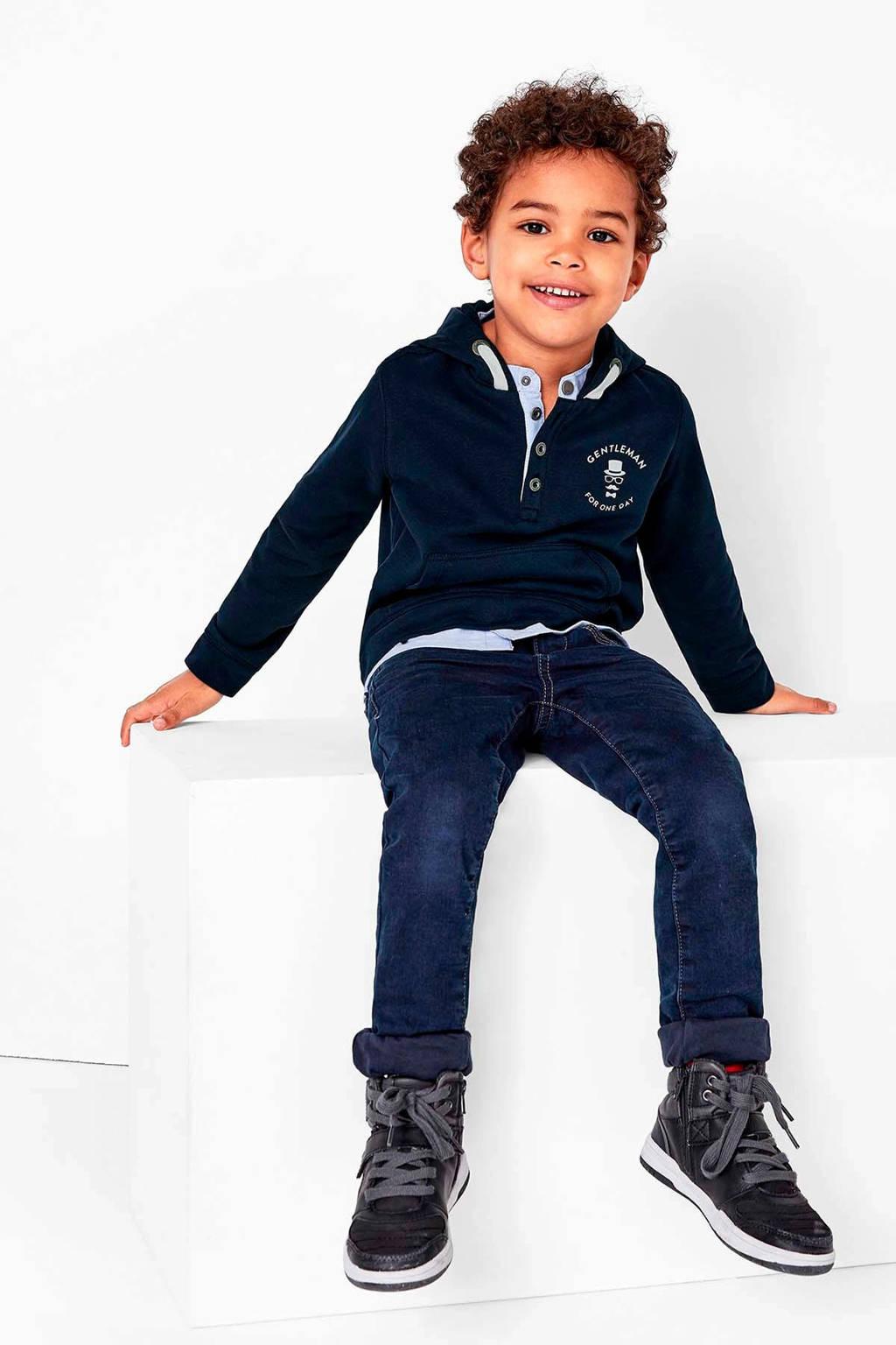s.Oliver hoodie met printopdruk donkerblauw/wit/lichtblauw, Donkerblauw/wit/lichtblauw