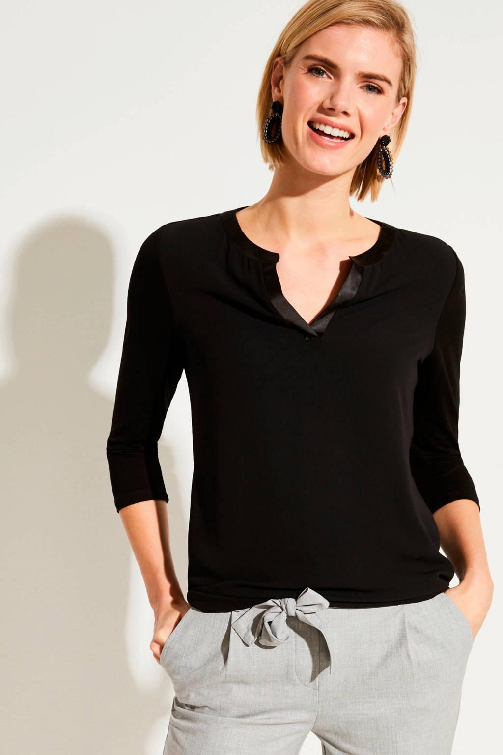 comma T-shirt zwart, Zwart