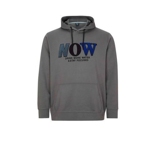 s.Oliver Big Size hoodie met printopdruk grijs Big